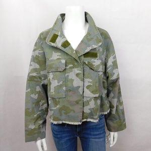 Zara Camo Cropped Military Jacket Frayed M